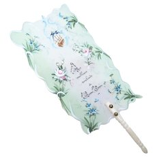 Made in France French Handpainted Celluloid Fan - Happy New Year Greeting Card   Pink Roses and Blue Forget Me Nots   Doll Accessory
