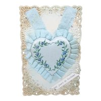 Antique Made in France French Celluloid Postcard with Handpainted Blue Heart Decoration | Happy New Year
