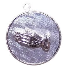 Vintage Religious Sterling Silver Charm | Hands in Prayer | God Grant Me the Serenity Prayer
