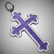 English C.1916 JA&S Sterling Silver and Enamel Cross Pendant!