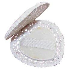 Made in England English Wedding Ring Holder   Heart Shape Presentation Case   Pierced Cutwork Lid   British Made