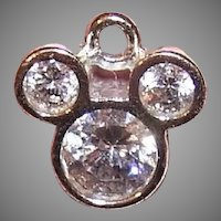 Sterling Silver Cubic Zirconia CZ Mickey Mouse Logo Charm