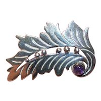 Taxco Mexico Sterling Silver Leaf Pin with Amethyst Cab Accent