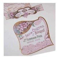 Set/2 Antique Edwardian Made in France French Art Nouveau Eau de Cologne Label - Pink Mauve Colors
