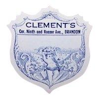 Set/4 Antique Paper Label for Clements, Brandon, Manitoba | Blue Fairy Carrying Basket of Fruit
