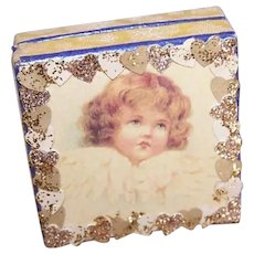 Antique Edwardian Made in France French Antique Pharmacy Box | Blonde Angel with Hearts