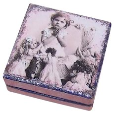 Antique Edwardian Made in France French Antique Pharmacy Box | Little Girl Praying with Dolls