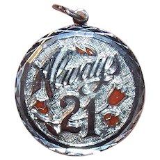 Retro Sterling Silver Enamel Disc Charm - Always 21