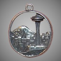 Double Sided 3D Sterling Charm - Seattle Space Needle & Monorail