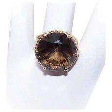 Vintage 10K GOLD Ring - Round, Faceted, SMOKY QUARTZ, Fashion Ring