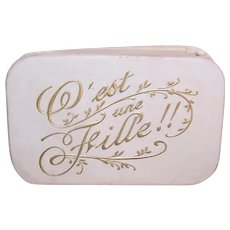 Antique Edwardian French Candy Box - Souvenir of Christening |C'est une Fille - It's a Girl