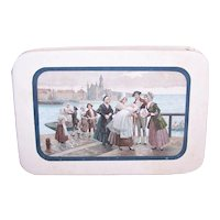 Antique Edwardian French Candy Box - Souvenir of Christening/Baptism - Family Procession Image