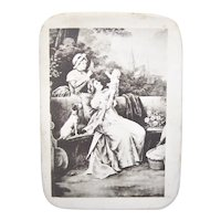 Antique Edwardian French Candy Box - Souvenir of Christening/Baptism | Mother and Child - Nanny and Dog