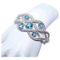 Shula Sterling Silver 14K Gold Blue Topaz Hinged Cuff Bracelet with Safety Chain