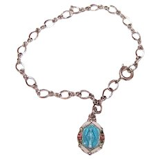 Creed Sterling Silver Religious Baby Bracelet with Enamel Miraculous Mary Charm