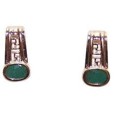 Vintage 10K GOLD Earrings - 1CT TW, Emerald, Half Hoops, Pierced, Posts with Nuts