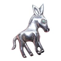 Made in Mexico Mexican Taxco Silver Turquoise Donkey Burro Pin Brooch