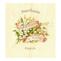 Antique Edwardian Made in France French Art Nouveau Lily of the Valley Soap Label by Victor Vassier