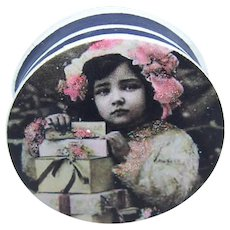 Antique Edwardian Made in France French Antique Pharmacy Box | Little Girl with Packages