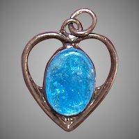 Religious Sterling Silver Charm Blue Enamel Heart Saint Bernadette & Virgin Mary