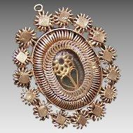Antique Edwardian SILVER GILT Reliquary - French, Religious, Napoleon III, Pendant