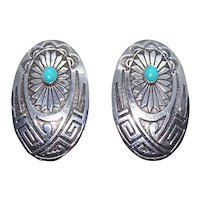 Native American Navajo Sterling Silver Turquoise Earrings | Pierced Earrings - Posts with Nuts