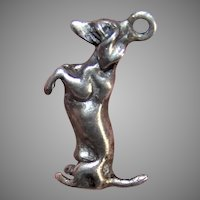 Vintage Sterling Silver Charm | Begging Dachshund