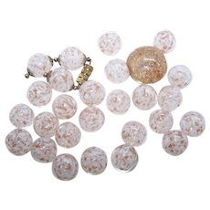 27 Made in Italy Italian Glass Beads   Clear with Gold and White Swirls