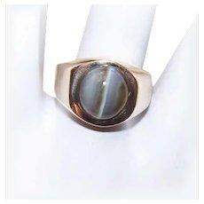 Vintage 14K GOLD Ring - Grey, Catseye, Cats Eye, Cab, Yellow Gold