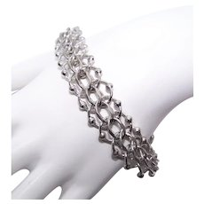 """Elco Sterling Silver 7.5"""" Double Chain Link Starter Charm Bracelet with Spacer Balls 
