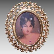 Vintage 14K GOLD Pendant - Pin, Italian, Portrait Miniature, Diamond, Lovely Lady