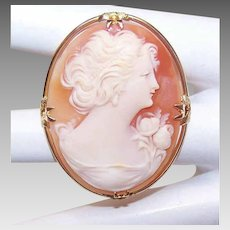 Vintage 10K GOLD Pin - Cornelian Shell, Cameo, Lovely Lady in Profile