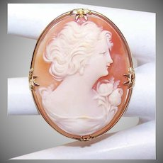 Vintage 10K Gold Cameo Pin - Cornelian Shell Cameo - Lovely Lady in Profile