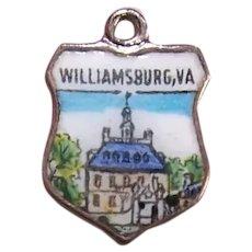 925 REU Sterling Silver Enamel Travel Shield Charm - Williamsburg, Virginia