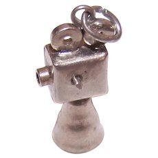 Vintage Sterling Silver Charm - Mechanical 1920s Hollywood Movie Camera