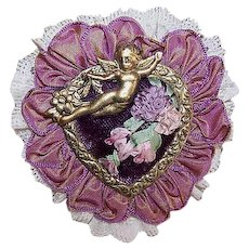 Handmade VICTORIAN REVIVAL Angelic Pin/Pendant of Lace, Silk Ribbon & Beads!