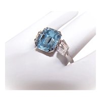 Art Deco Revival Sterling Silver Ring - Ice Blue & Clear Rhinestones