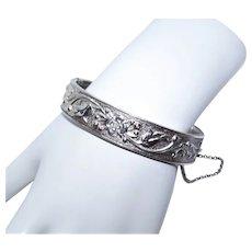 Dunn Bros Sterling Silver Hinged Bangle Bracelet - Repousse Floral Design