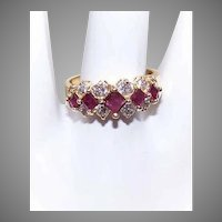 Estate 14K Gold 1CT TW Diamond Ruby Ring