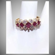 Vintage 14K Gold Ring - 1CT TW Diamond, Ruby, Cocktail, Fashion, Ring