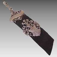 ANTIQUE EDWARDIAN 800 Silver & Leather Ribbon Watch Fob - Knight's Head Shield!