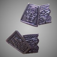Double Sided Souvenir Silver Cufflinks from South America