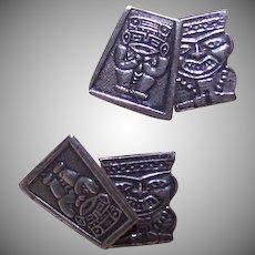 Vintage SILVER Cufflinks - Mexico, Peru, Aztec, Inca, Gods