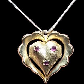 Reversible 14K Gold .39CT TW Ruby Blue Sapphire Heart Locket Pendant or Charm - Henry Dankner & Son Attribution