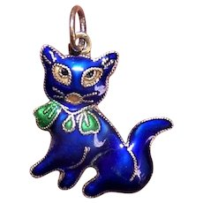 Vintage China Silver Charm | Blue Enamel Cat