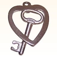 Vintage STERLING SILVER Charm - Key to my Heart!