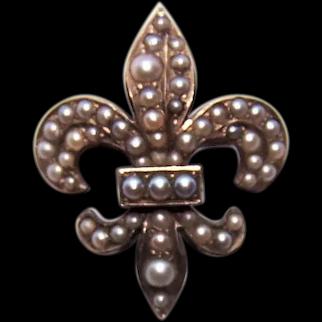 Riker Brothers Art Nouveau 14K Gold Natural Pearl Watch Pin | Fleur de Lis Design