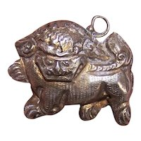 Vintage China Silver Pendant or Charm - Foo Dog or Lion