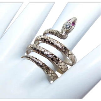 Antique Edwardian 10K Gold .05CT TW Diamond Ruby Snake Ring - Triple Coiled Reptile
