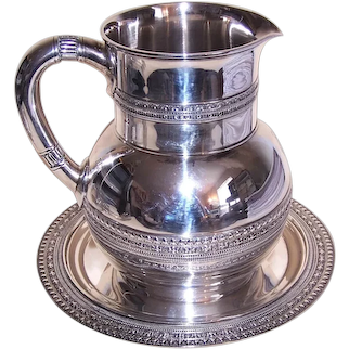 Tiffany & Co Antique Victorian Dated 1880 Sterling Silver Water Pitcher and Tray - Monogrammed